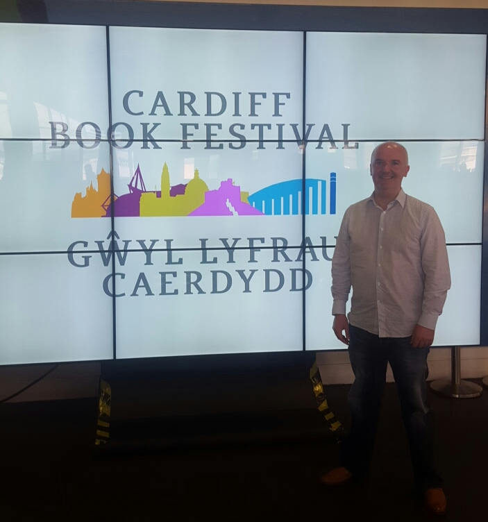 Organiser, Brian Meechan at the launch of Cardiff Book Festival